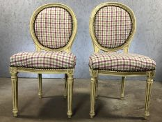 Pair of bedroom chairs with chequered upholstery