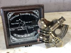 Reproduction Victorian boxed brass sextant, approx 11cm x 11cm x 8cm