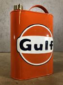 Vintage style decorative oil can, marked Gulf, approx 37cm in height