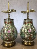 Pair of Chinese porcelain lamp bases, approx 62cm in height