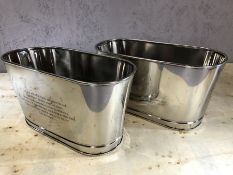Pair of small decorative champagne buckets with Bolinger and Bonaparte inscriptions, approx 30cm x