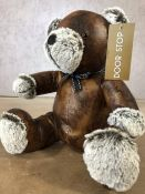 Leather doorstop in the form of a bear, approx 30cm in height