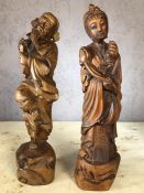Two Chinese carved wooden figures, each approx 30cm in height