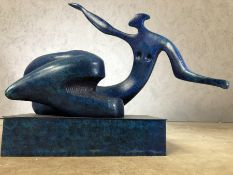 Abstract blue bronze of a figure, approx 42cm x 35cm