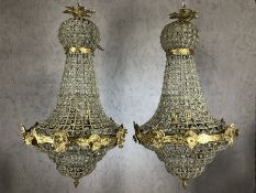 Pair of gilt framed chandeliers with beaded design, approx drop 70cm