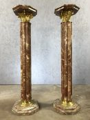Pair of gilt and marble pedestals, approx 114cm in height