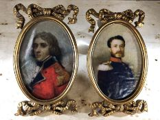 Pair of miniature framed pictures, approx 24cm in height