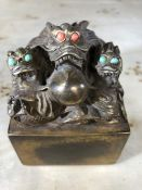 Heavy bronze seal decorated with dragons, approx 10cm in height