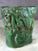 Carved Chinese brush pot, approx 16cm in height
