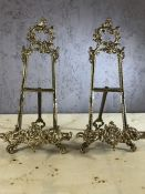 Pair of easels in gold finish, each approx 41cm in height