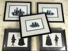 Collection of five framed silhouettes, the largest approx 27cm x 22cm
