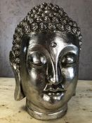 Silver coloured Buddha head, approx 35cm in height
