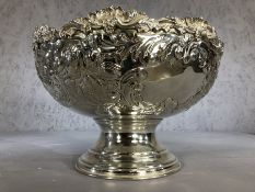 Large silver plated embossed punch bowl, approx 40cm in diameter