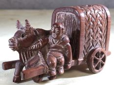 Japanese wooden bull and cart, approx 5cm tall