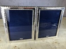 Pair of large silver photo frames, approx 24cm x 18.5cm