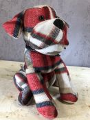 Tartan doorstop in the form of a seated dog, approx 33cm in height