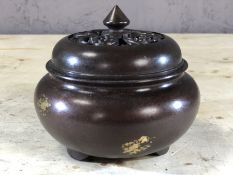Small censer with gold splash design, approx 9cm in height