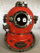 Red decorative reproduction divers helmet, marked 'US Navy Diving Helmet', approx 40cm in height
