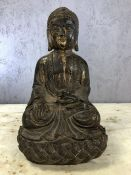 Seated metal Buddha, approx 33cm in height