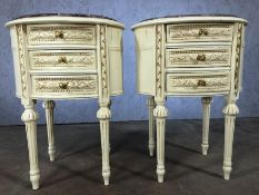 Pair of marble topped cream bedside tables with three drawers