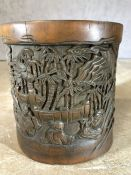 Chinese carved wooden brush pot, approx 16cm in height