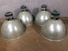 Set of four holophane style industrial lampshades, approx 43cm in height, diameter approx 48cm