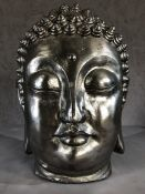 Large silver coloured Buddha's head, approx 43cm in height