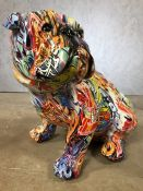 Large decorative model of a bulldog with graffiti design, approx 36cm in height