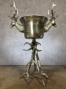 Large ice bucket on stand with stag head design, approx 107cm in height (max)