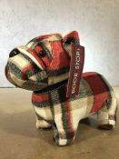Tartan doorstop in the form of a bulldog, approx 24cm in height