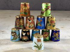 Collection of twelve cloisonné thimbles