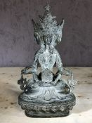Multifaced deity metal figurine, possibly Hindu, approx 23cm in height