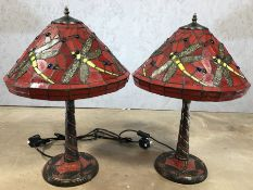 Pair of red Tiffany style lamps with dragonfly design, each approx 57cm in height