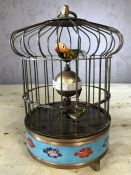 Cloisonné bird cage clock, approx 20cm in height