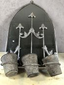 Arched garden mirror with three hanging pots, approx 76cm in height
