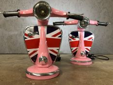 Pair of modern table lamps in the style of pink Vespa scooters, each approx 32cm in height
