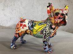 Decorative figure of a French Bulldog with graffiti design, approx 20cm in height