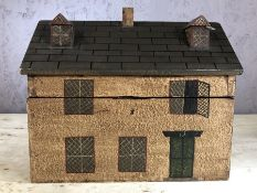 Large wooden tea caddy in the form of a house, approx 22cm in height