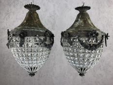 Pair of acorn shaped chandeliers with beaded design, drop approx 40cm