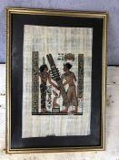 Framed Egyptian silk, approx 45cm x 33cm