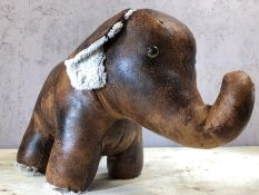 Leather doorstop in the form of an elephant, approx 26cm in height