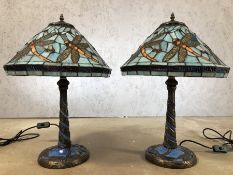 Pair of blue Tiffany style lamps with dragonfly design, each approx 57cm in height