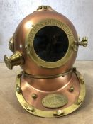 Copper coloured decorative reproduction divers helmet, marked 'Anchor Engineering', approx 40cm in