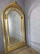 Extra large gilt framed mirror, approx 224cm in height x 118cm wide