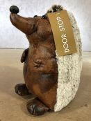 Leather doorstop in the form of a hedgehog, approx 27cm in height