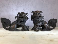 Pair of bronze Foo Dogs, each approx 17cm in height