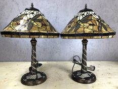 Pair of yellow Tiffany style lamps with dragonfly design, each approx 57cm in height