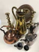 Collection of metal and brass ware to include candlesticks, pewter jugs, copper kettle and plate
