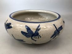 Large Chinese blue and white bowl with dragonfly design, approx 24cm wide x 10cm tall