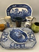 Collection of china to include Copeland Spode, Dartmouth green vase, Royal Doulton mugs etc